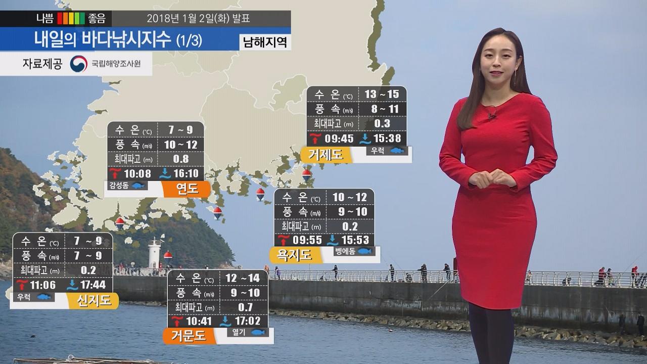 [내일의 바다낚시지수] 1월3일 영하권 날씨, 전해상 강한 바람 동해 먼바다 풍랑특보