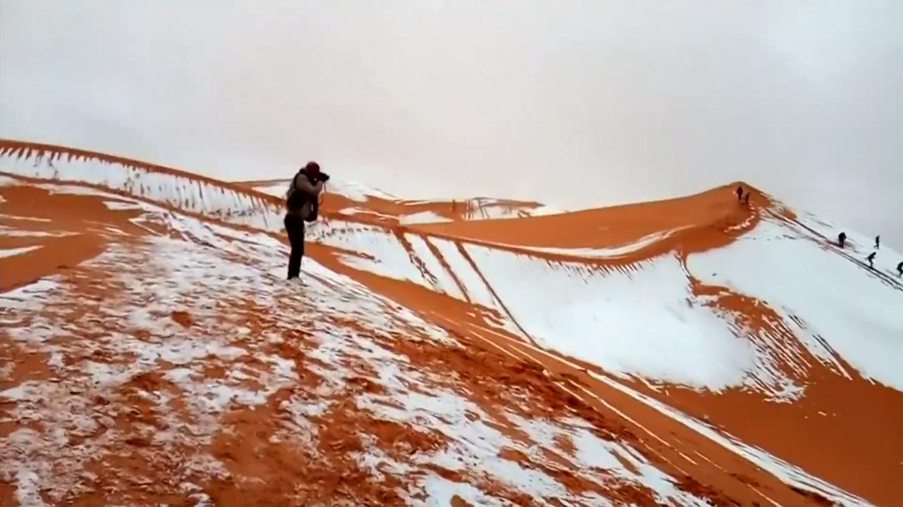 """[영상] 사하라 사막에 쌓인 눈...""""기후변화 영향"""""""