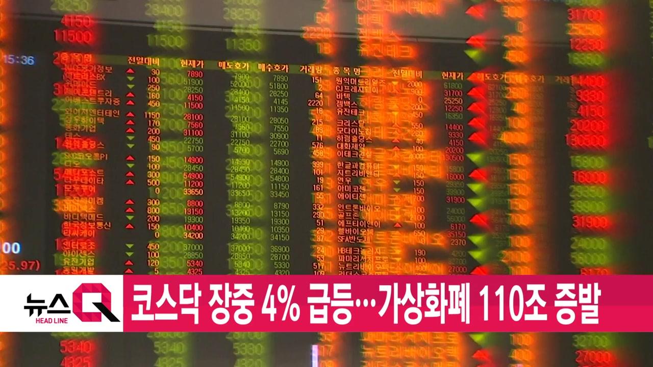 [YTN 실시간뉴스] 코스닥 장중 4% 급등...가상화폐 110조 증발