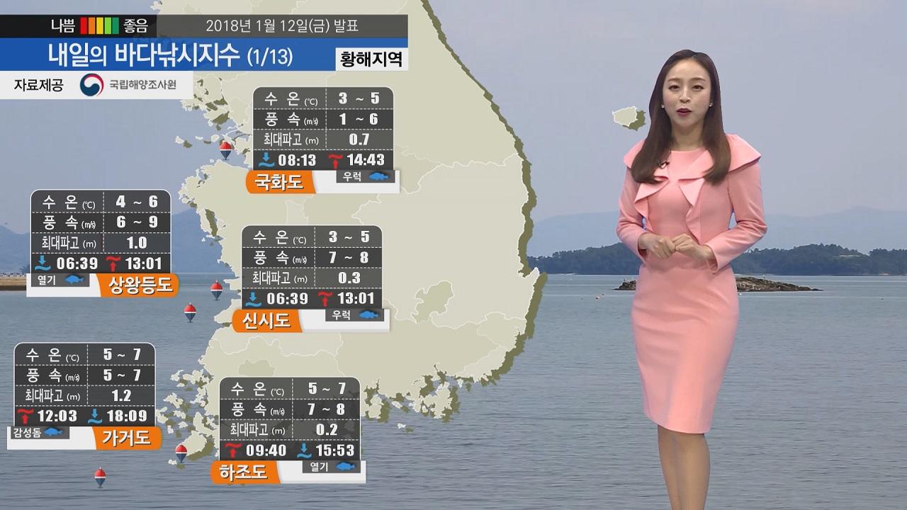 [내일의 바다낚시지수] 1월13일 토요일 추위 조금 풀리나 해역별 기온은 모두 낮을 전망