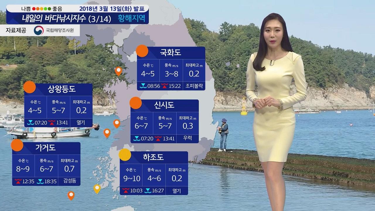 [내일의 바다낚시지수] 3월 14일 전국 20도 안팎 기온 따뜻한 봄 낚시하기 좋은 날