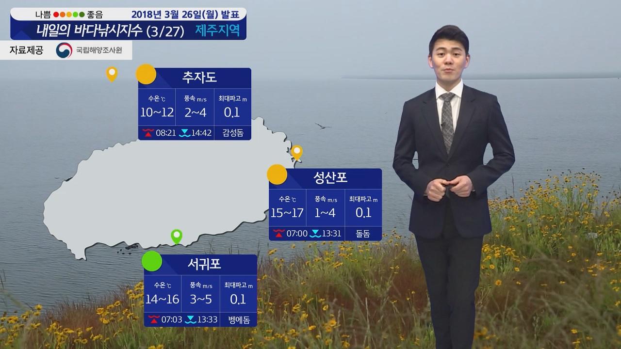 [내일의 바다낚시지수] 3월27일 바다 좋으나 미세먼지 심각 야외활동 자제하는 게 좋을 듯