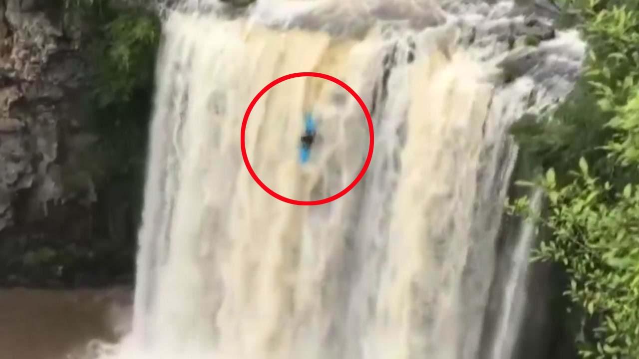 [지구촌생생영상] 30m 높이의 폭포...카약 다이빙에 도전한 청년