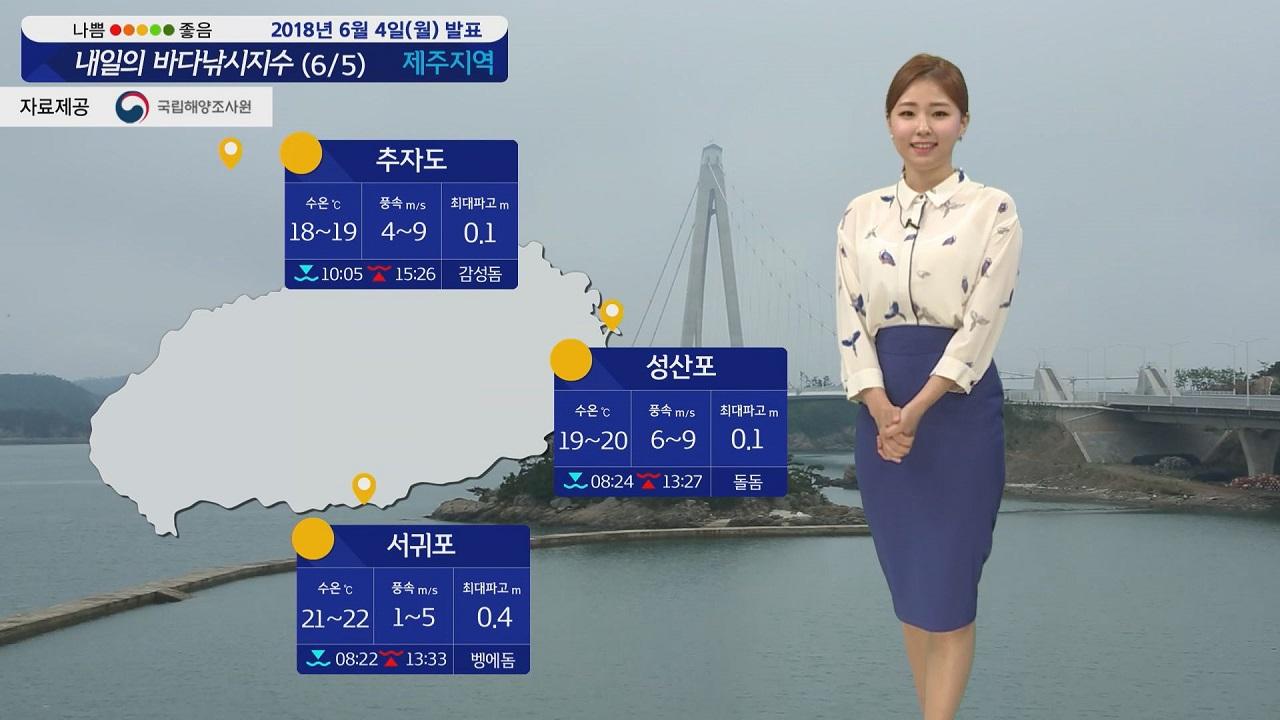 [내일의 바다낚시지수] 6월5일 화요일 대체로 흐리고 비소식 남해안 제주도 강한 바람 예상