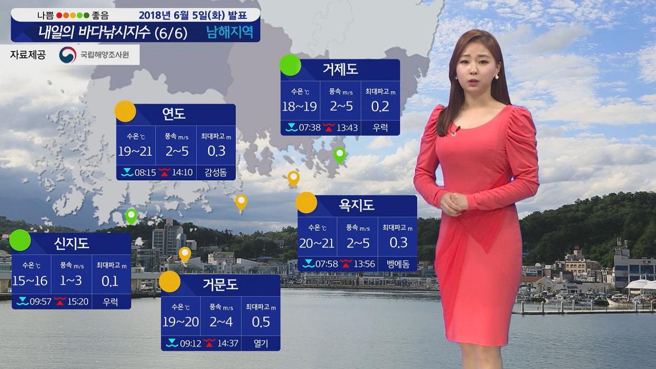 [내일의 바다낚시지수] 6월6일 맑은 하늘 기온 올라 하지만 안개 영향 안전에 주의 바람