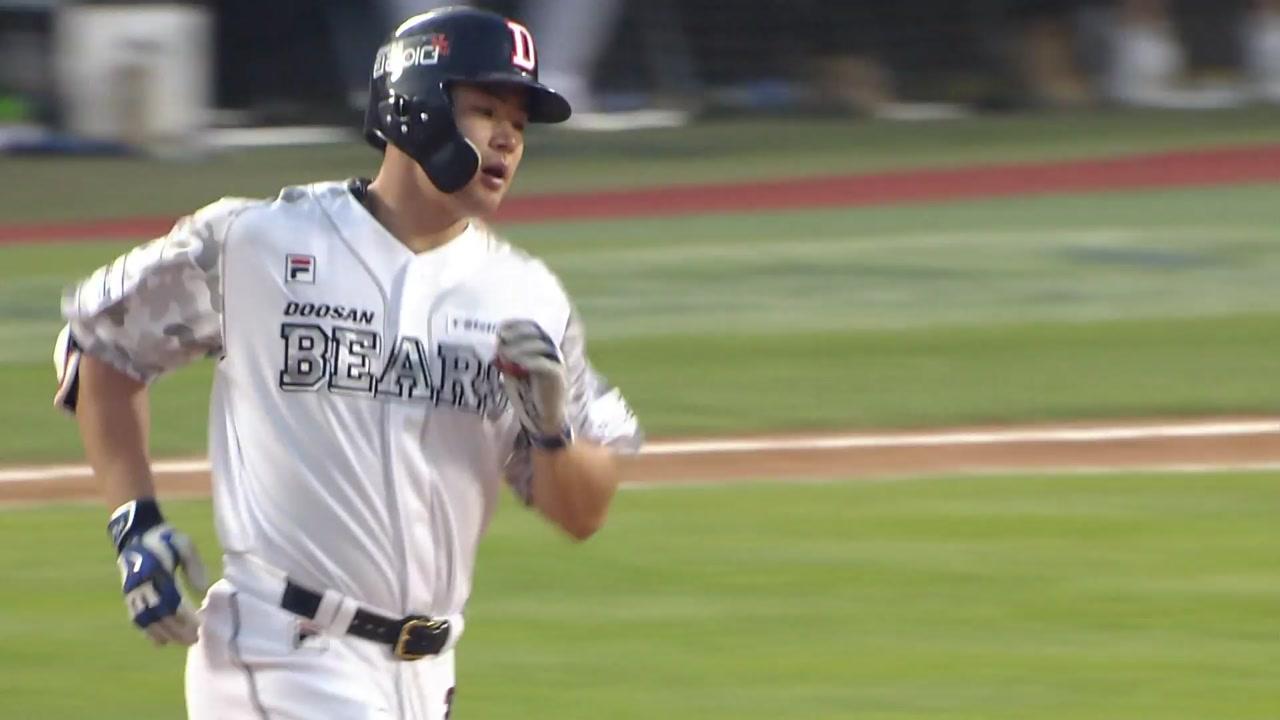 대기록에 성큼성큼...김재환, 7경기 연속 홈런