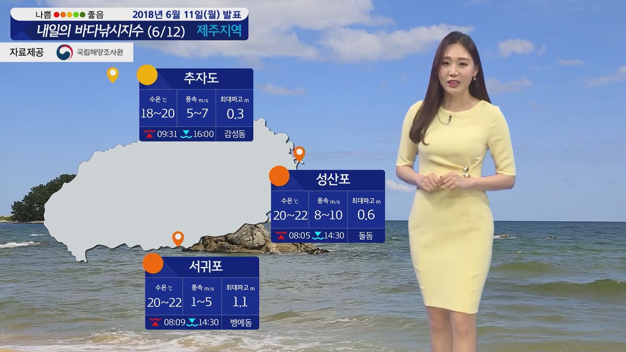 [내일의 바다낚시지수] 6월12일 더위 주춤 동풍 영향 동해안 한낮 기온 20도 선선해