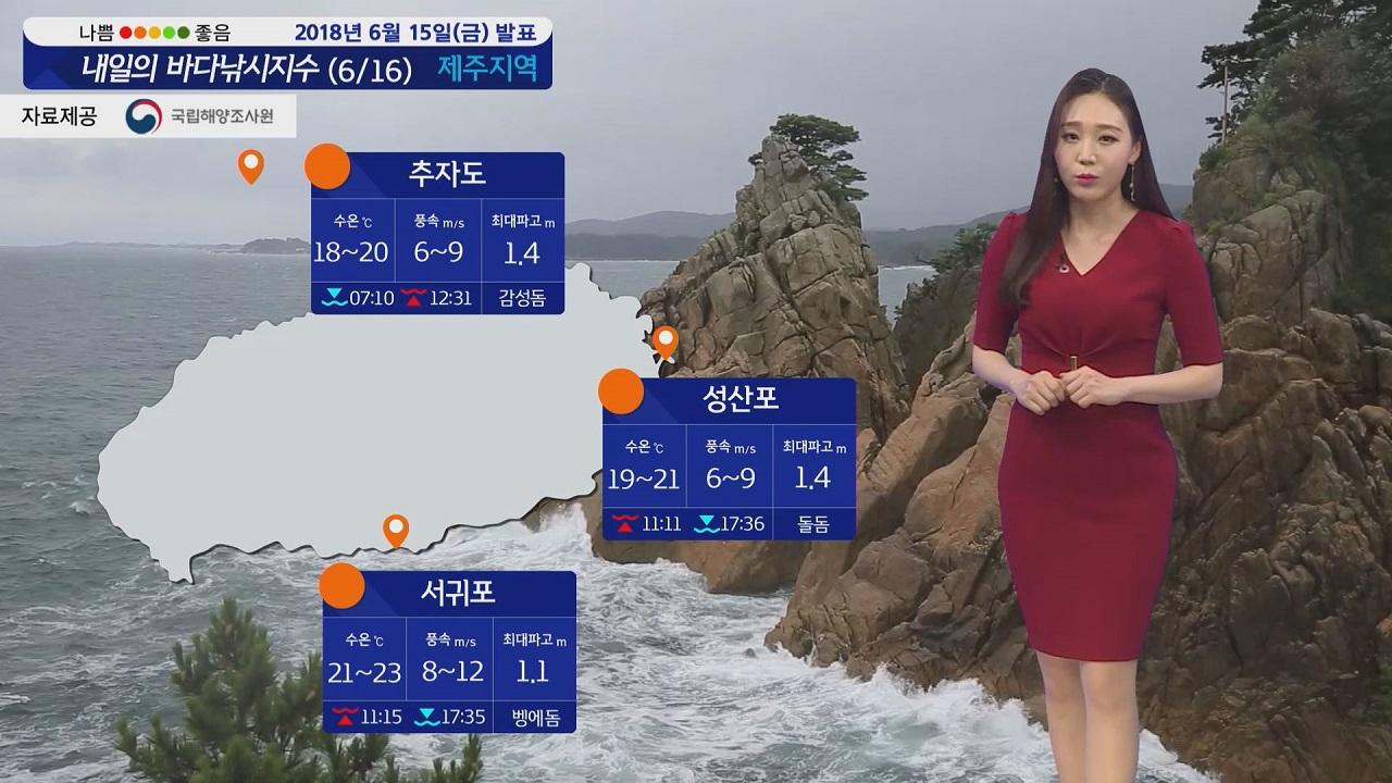 [내일의 바다낚시지수] 6월16일 주말 해무 바람 거친 파도 풍랑특보 발효 해황 확인 바람