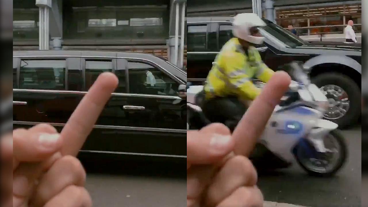 영국 방문한 트럼프, 이동 중 시민에게 손가락 욕설 당해