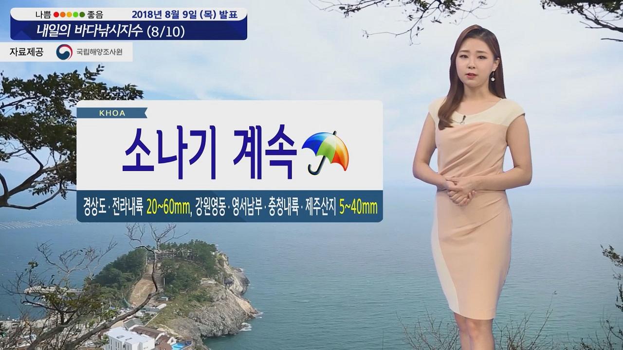 [내일의 바다낚시지수] 8월10일 금요일 전국 소나기 소식 여전히 해상 바람 너울이 강해