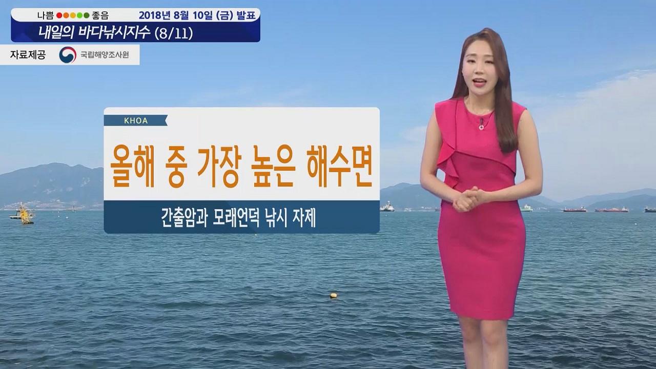 [내일의 바다낚시지수] 8월11일 토요일부터 월요일 사이 올해 중 해수면 가장 높아져