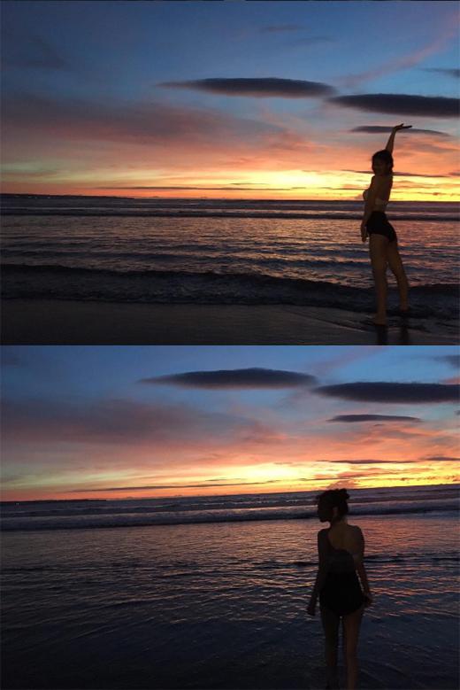 설리의 발리 바닷가, 비키니+석양+로맨틱한 분위기_이미지2