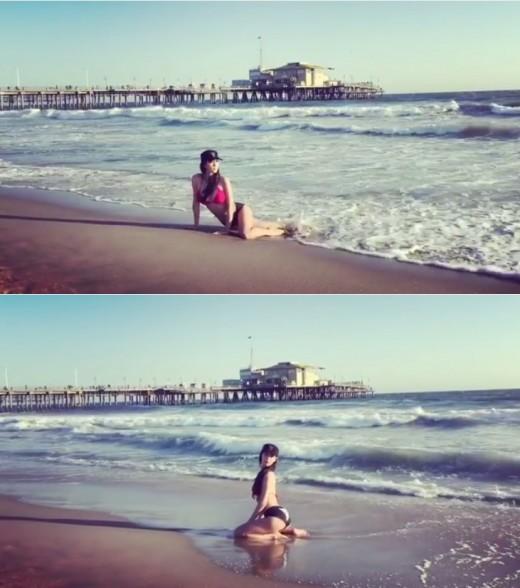 """""""진짜 해변의 여인"""" 클라라, 비키니 입고 파도 샤워_이미지"""