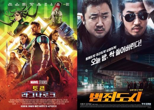 '토르3' 일주일 연속 1위…'범죄도시' 600만 돌파