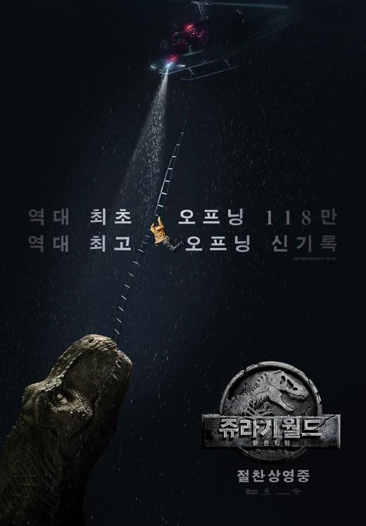 '쥬라기 월드:폴른 킹덤' 韓흥행 신기록 기념 포스터…압도적
