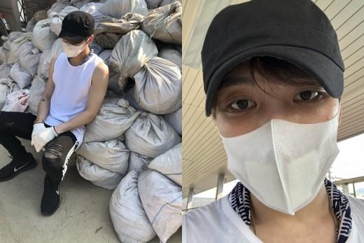 김재중, 히로시마 폭우 지역 방문…열혈 봉사
