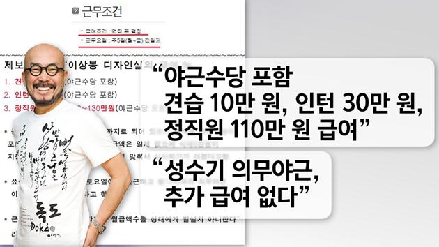 '열정페이' 논란 이상봉 결국 사과