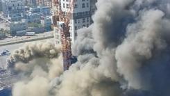 [영상] 하늘에서 본 분당 화재 현장 '시커먼 연기 자욱'