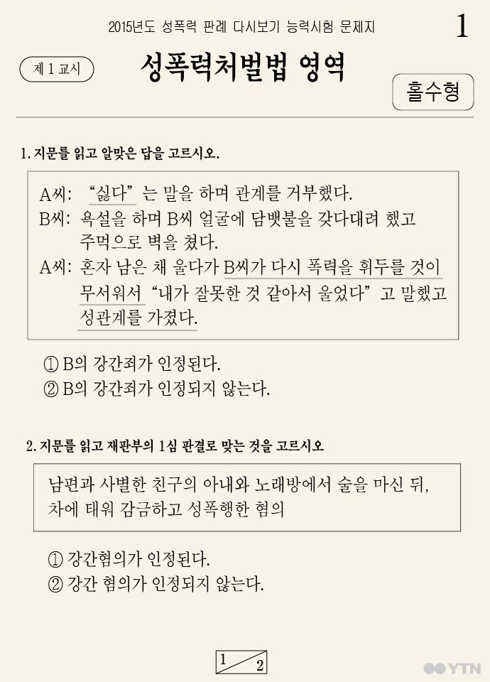 [한컷뉴스] '성폭력처벌법 영역' 다 맞힐 자신 있나요?