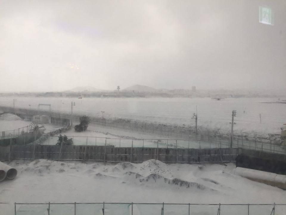 """설원으로 변한 제주공항 활주로 """"제주에 갇혔어요"""""""