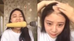 전동 드릴로 옥수수 먹기 인증하다 머리카락 몽땅 뽑힌 여성