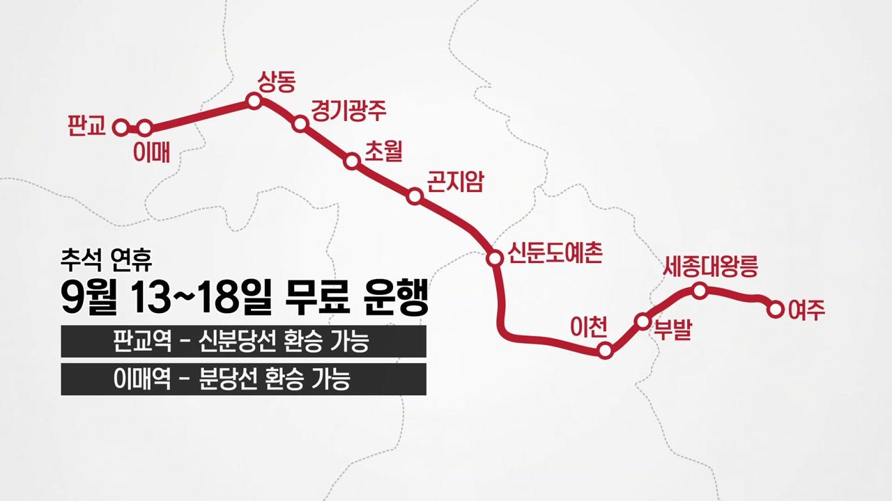 성남~여주 복선전철 추석에 무료 임시 운행