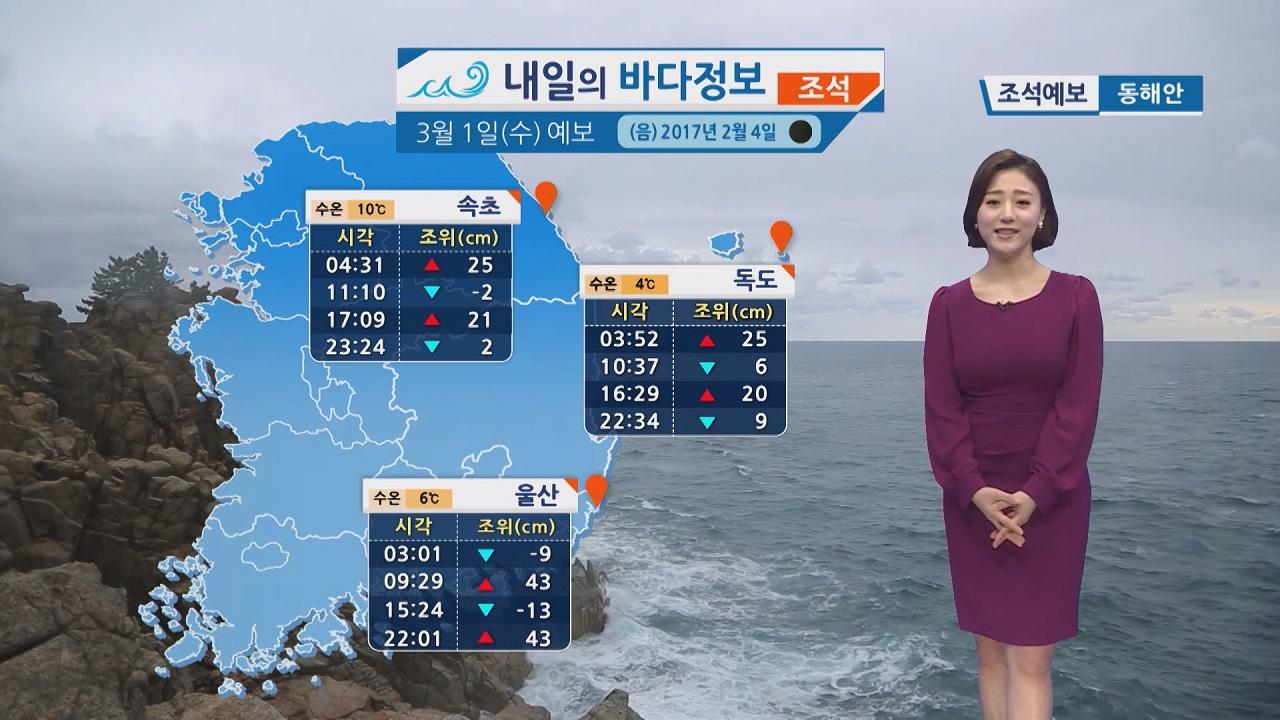 [내일의 바다 정보] 3월1일 해상에 강한 바람 높은 물결 항해 조업 선박 유의 바람