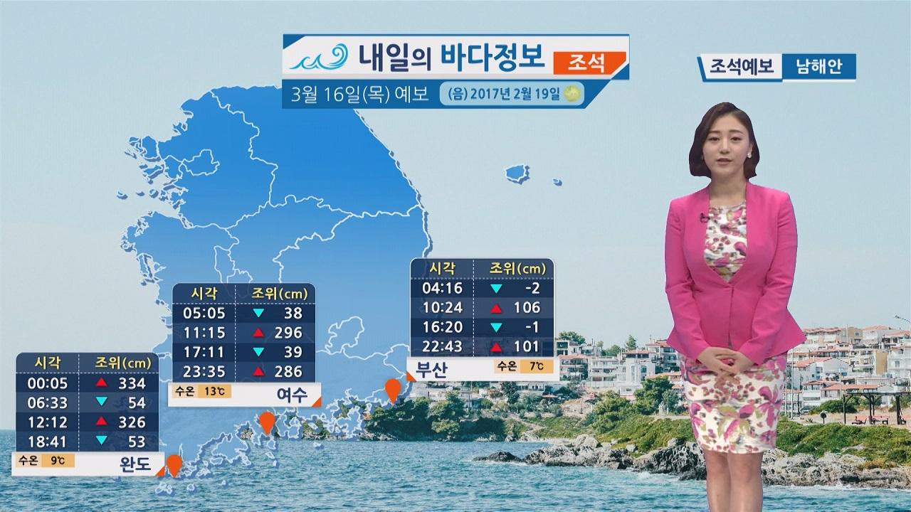 [내일의 바다 정보]  3월 16일 동해안과 제주도 너울성 파도 안전사고에 각별히 유의