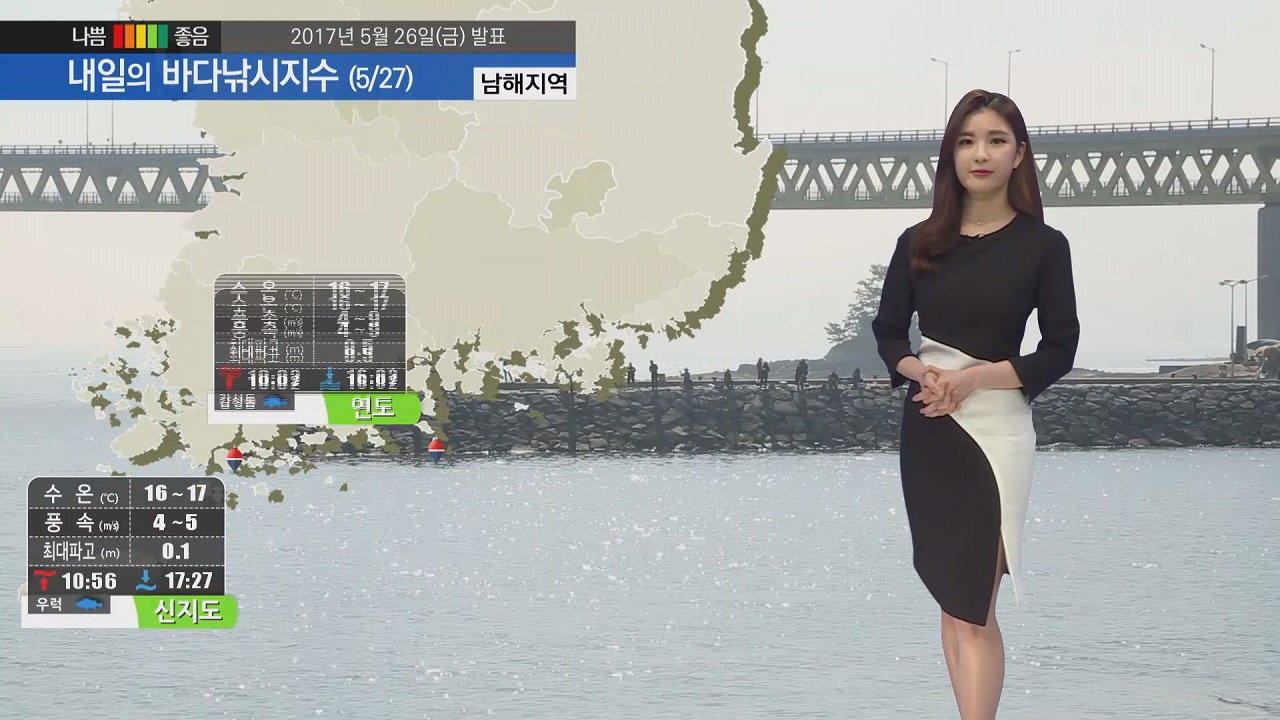 [내일의 바다낚시지수] 5월 27일 강한 바람 높은 물결 예상 안전사고에 각별한 주의 바람