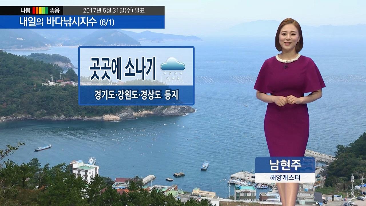[내일의 바다낚시지수] 6월 1일 전국이 대체로 구름 많은 가운데, 곳곳에 소나기 내려