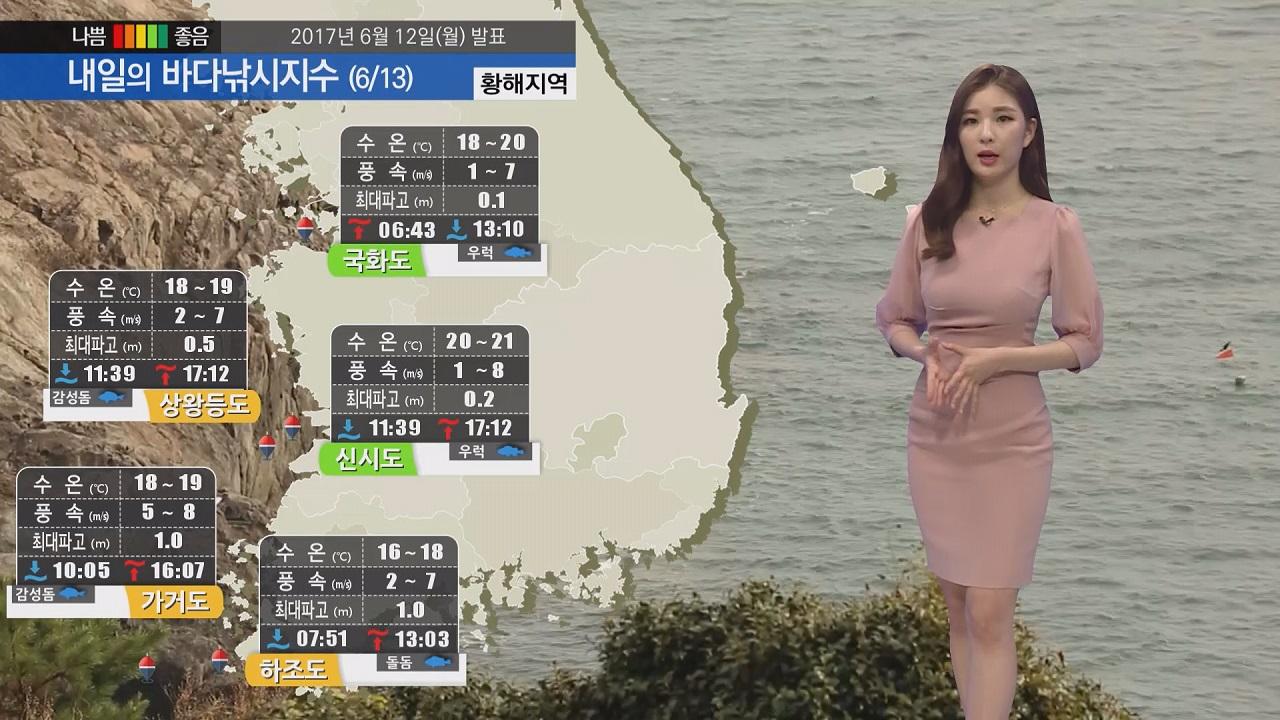 [내일의 바다낚시지수] 6월 13일 일부 지역 소나기 천둥 번개 영향 시설물 관리에 유의