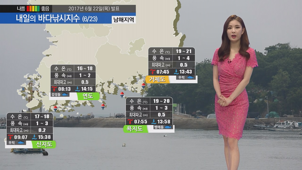 [내일의 바다낚시지수] 6월 23일 파고 낮고 바람 약하게 불어 낚시 즐기기에 좋은 하루