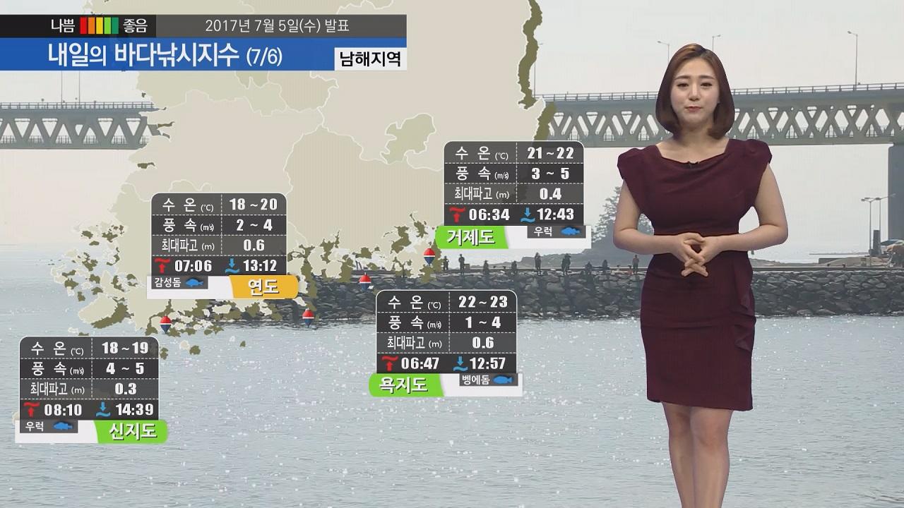 [내일의 바다낚시지수] 7월 6일 습하고 후텁지근한 날씨 파고 높지 않아 낚시하기 무난