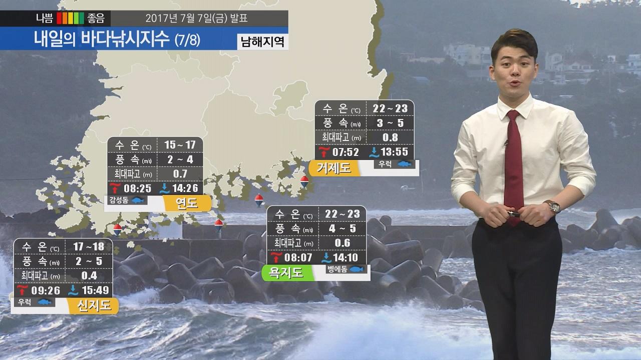 [내일의 바다낚시지수] 7월 8일 짙은 해무 영향 낚시 활동 시 시야확보에 유의 바람