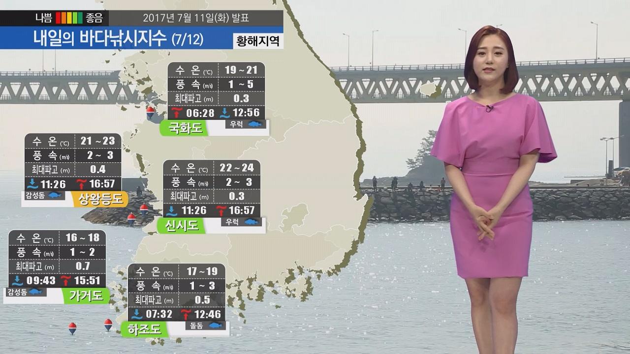 [내일의 바다낚시지수] 7월 12일 초복 불볕더위 예상 대체적으로 바다낚시 지수 좋아