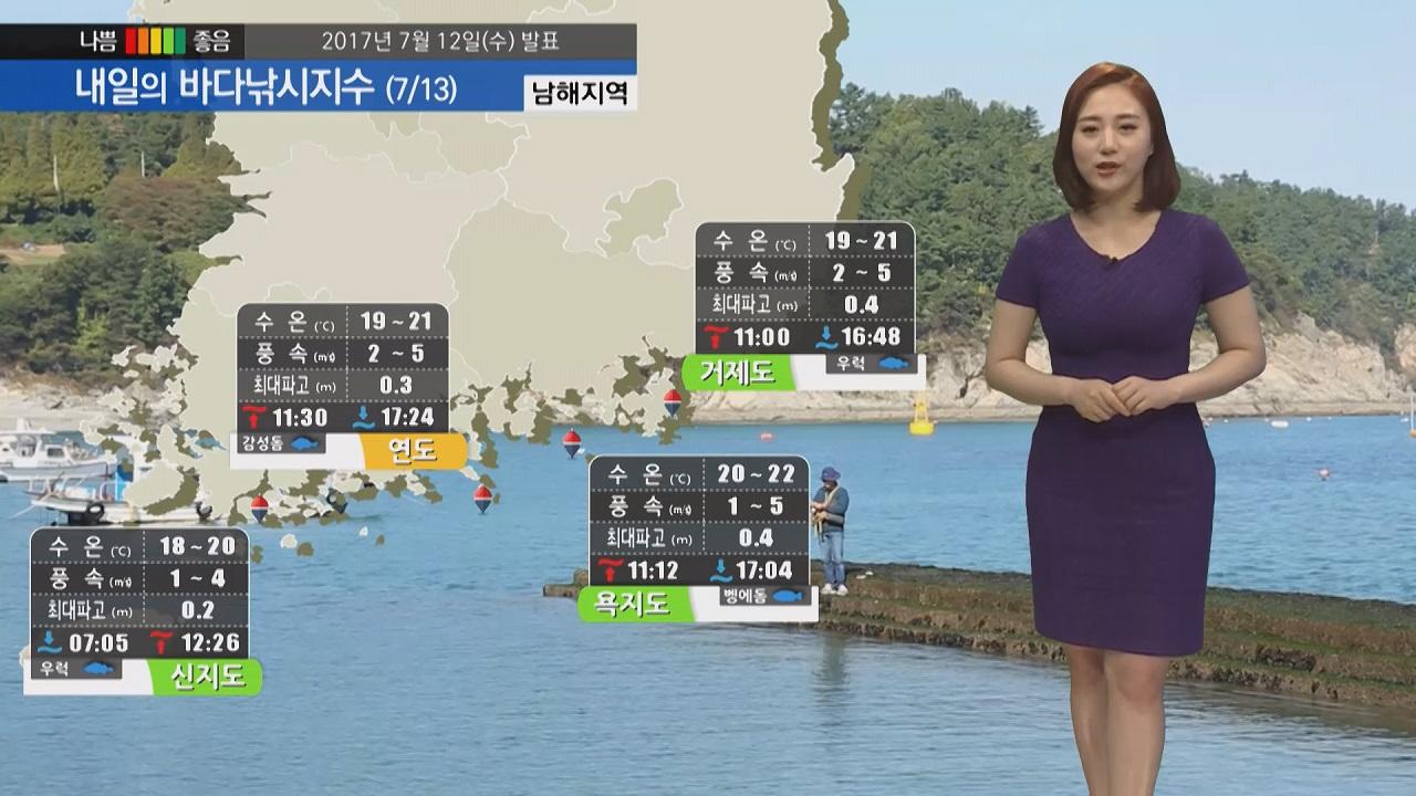 [내일의 바다낚시지수] 7월 13일 불볕더위 전망 동해권 바다 지수 좋아 좋은 조과 기대