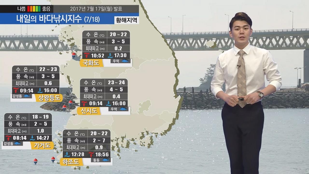 [내일의 바다낚시지수]  7월 18일 전국 구름 많은 날씨  소조기 영향 유속 느려져