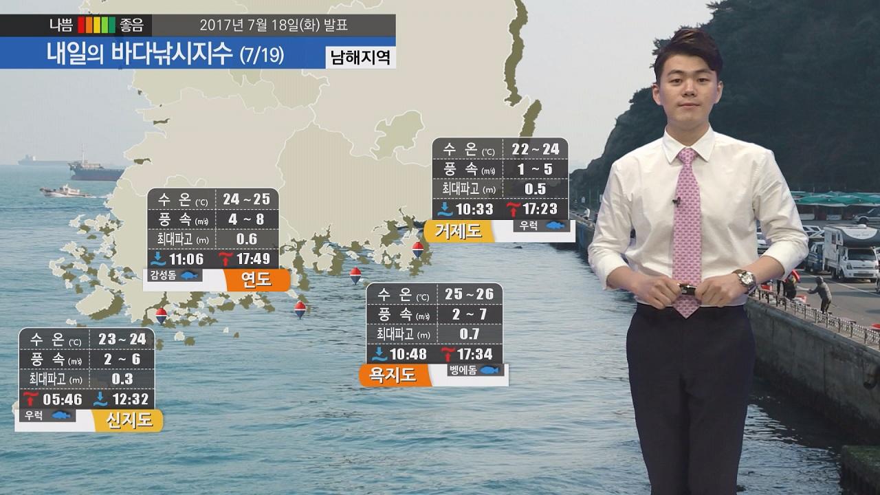 [내일의 바다낚시지수] 7월 19일 구름 많은 날씨 소나기 내려 출조 시 우의 챙겨야