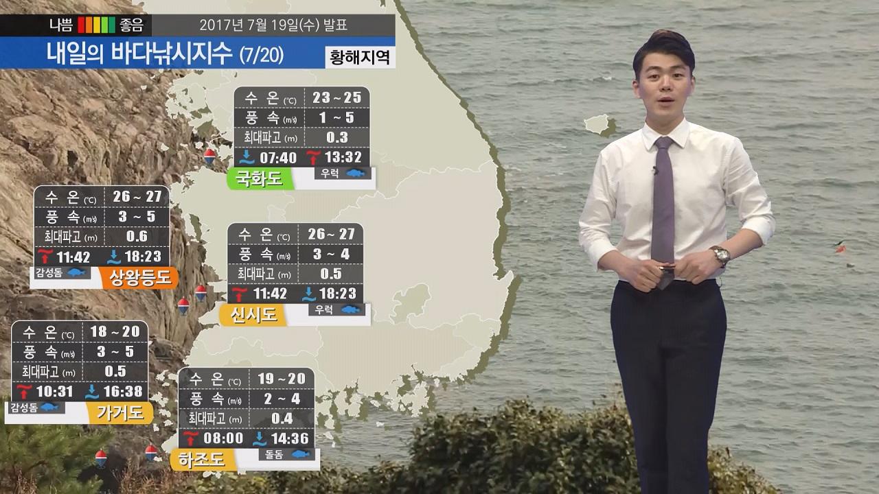 [내일의 바다낚시지수] 7월 20일 전국적 폭염특보,  국화도 신지도 바다낚시지수 좋아