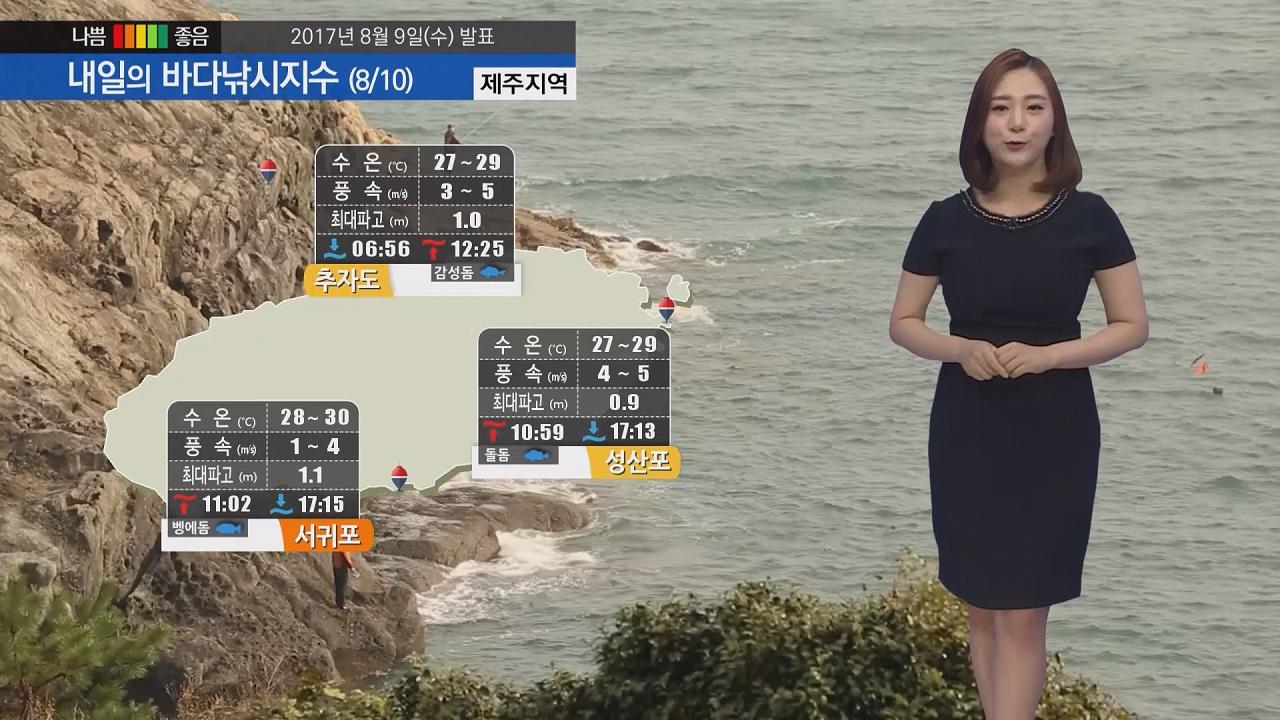 [내일의 바다낚시지수] 8월10일 폭염 이어지다 오후 소나기 예보 우비 낚시 안전화 준비