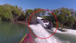 [영상] 강에서도 과속은 금물...수풀에 '쾅'