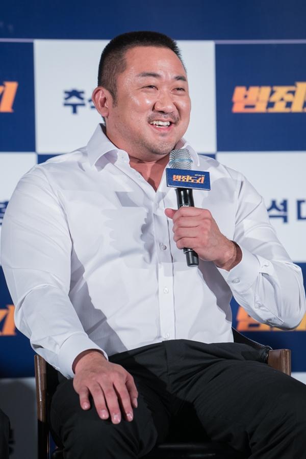 """마동석 """"연인 예정화 '범죄도시' 출연… 연기 잘 해줘 감사"""""""