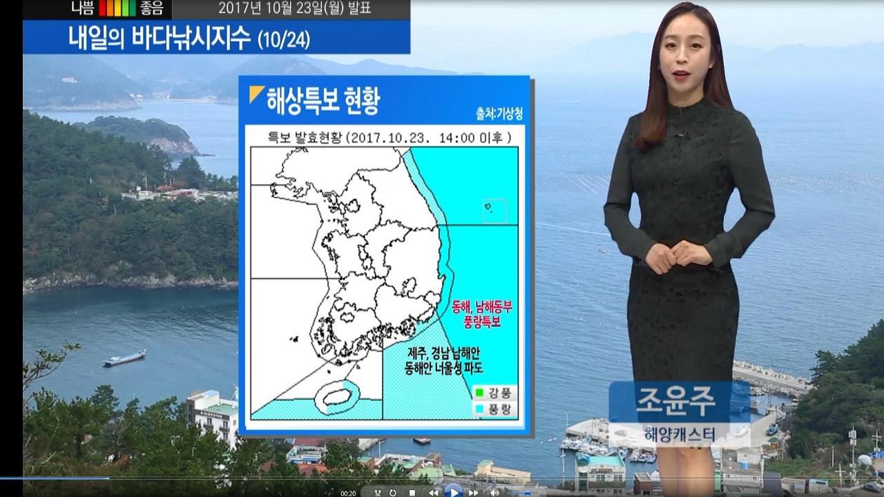 [내일의 바다낚시지수] 10월24일 제주,경남 남해 동해안 너울성 파도 위험 안전사고 유의