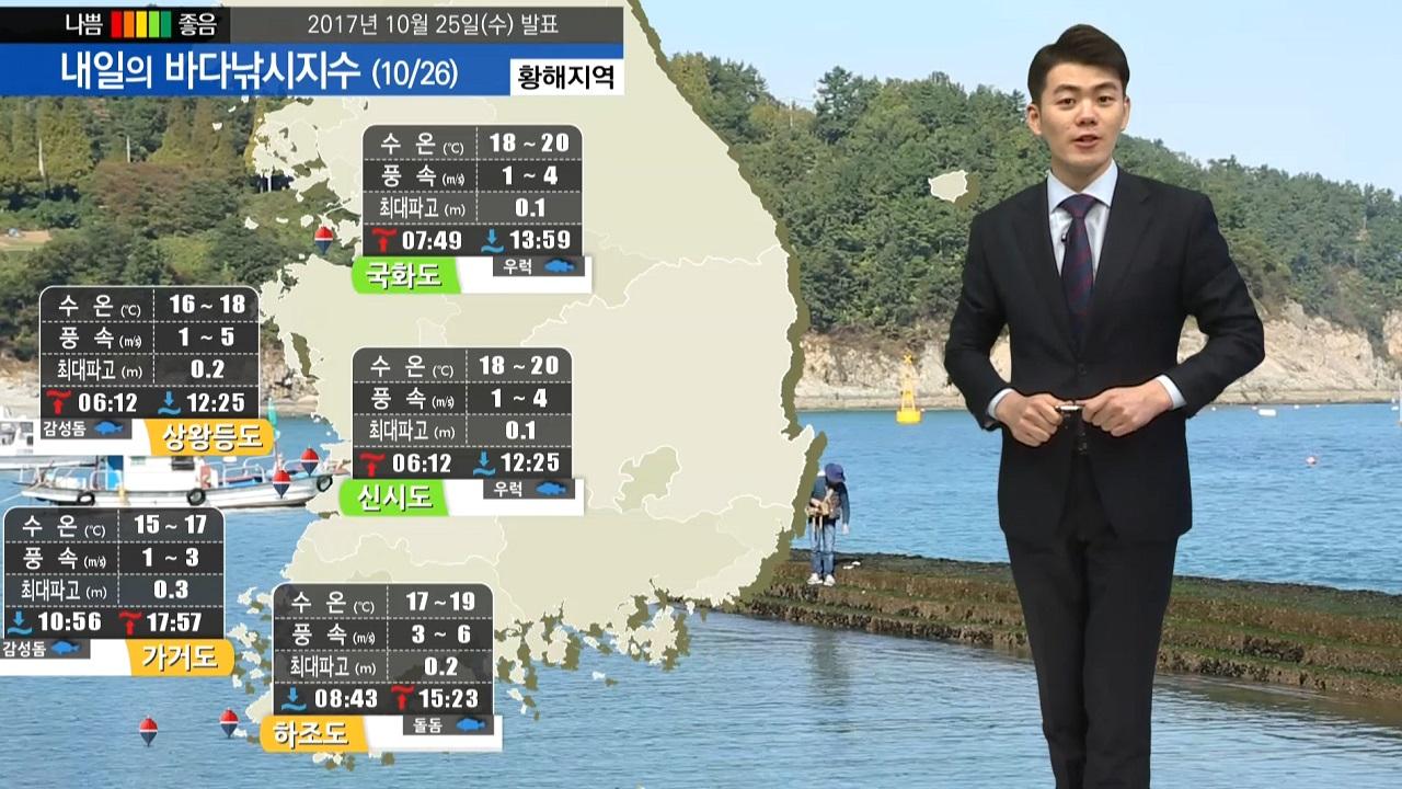[내일의 바다낚시지수] 10월 26일 바다낚시 출조하기 좋은 가을 날씨 무난한 조건 예상