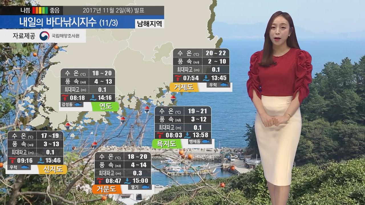 [내일의 바다낚시지수]11월3일 해안 일부 내륙에 바람 강할 것으로 예상돼