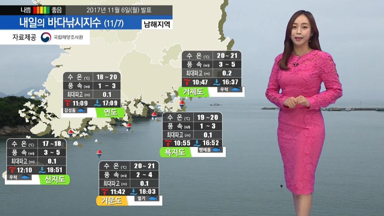 [내일의 바다낚시지수] 11월7일 겨울의 시작 입동 전 해역 출조하기 무난한 날씨 보여