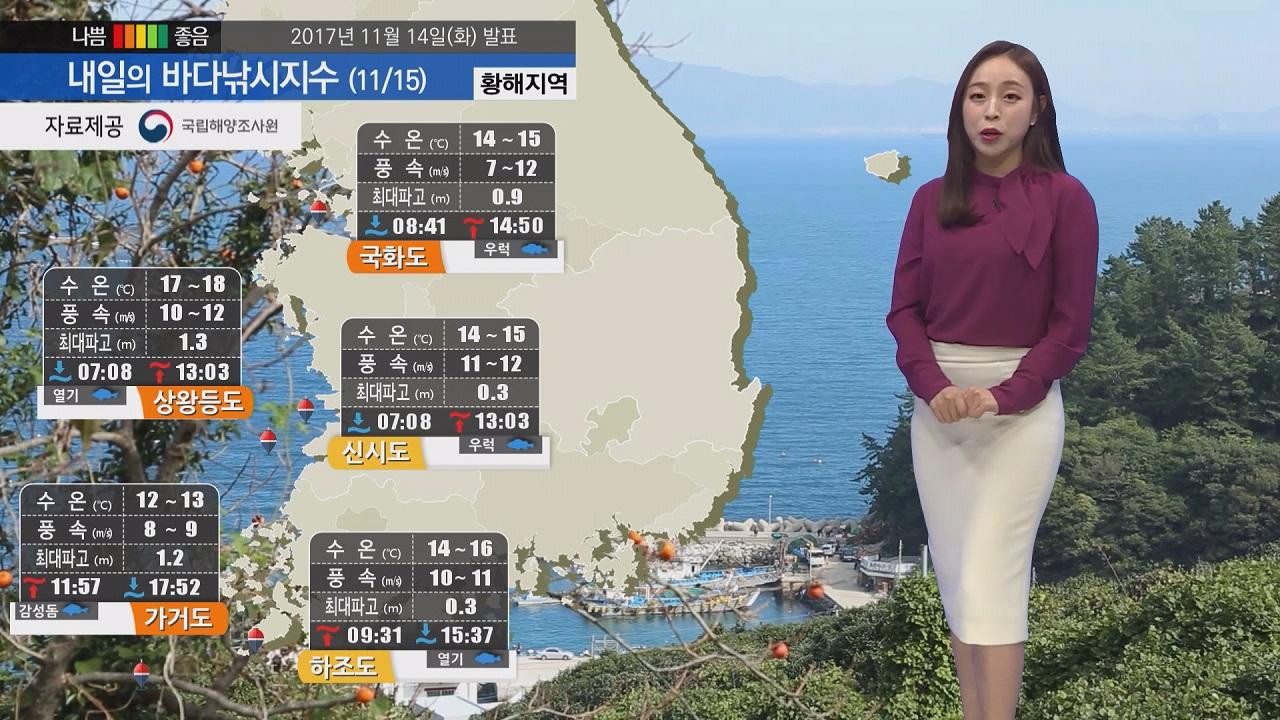 [내일의 바다낚시지수] 11월15일 내내 추운 날씨 동해 황해 강한 바람과 높은 너울 예상