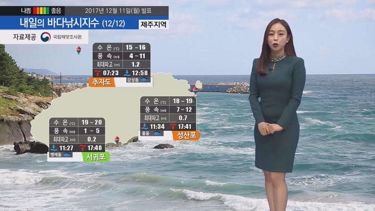 [내일의 바다낚시지수] 12월12일 해상 특보 영향 낚시 즐기기 어려운 곳 많아 확인 바람