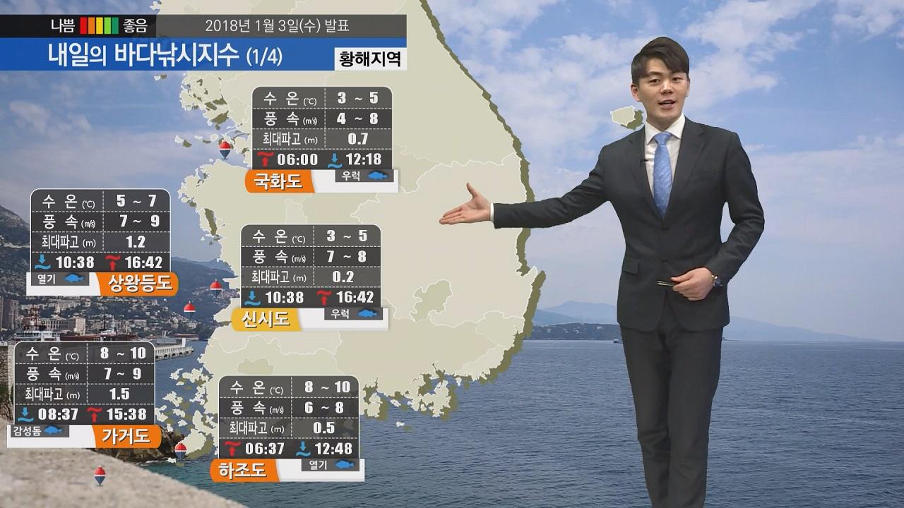 [내일의 바다낚시지수] 1월4일 강한바람 예상 신시도 서귀포 등 일부 포인트만 출조 가능