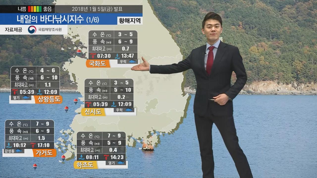 [내일의 바다낚시지수] 1월6일 토요일 추위 주춤하나 강한 바람 예상 출조시 확인 바람